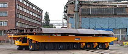 Self-propelled elevating transporter for the shipbuilding industry in Poland