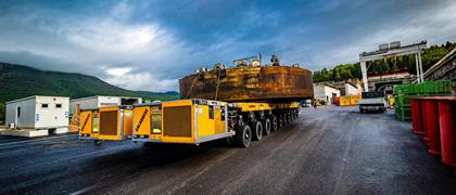 "Calabrese Autogru s.r.l. from Torino was given the task to transport the larger components of the tunnel boring machine from the South entrance of the tunnel ""Santa Lucia"" to the new motorway section"